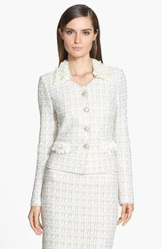 St. John Collection Embellished Plaid Knit Jacket available at #Nordstrom