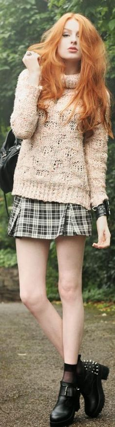 chunky knit with plaid skirt (and amazing hair!)