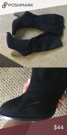 Black suede long boots zip up in side , right inner sole has a scuff mark . it can not be easily seen when worn . Charles David Shoes Heeled Boots