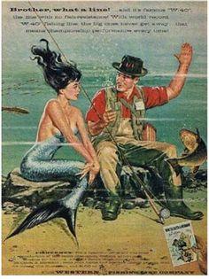 Vintage Fishing Ads: Mermaid LoveFishing In Minnesota Fantasy Mermaids, Real Mermaids, Mermaids And Mermen, Mermaid Cove, Mermaid Art, Mermaid Pics, Fantasy Creatures, Sea Creatures, Paintings