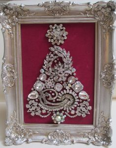 Jeweled Framed Jewelry Christmas Tree Silver Fuchsia Gorgeous Art Deco by audreymivey on Etsy