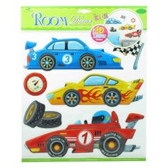 Racing car laser 3d wall stickers, $6.00 per pack. http://www.alacraft.com.au/racing-car-laser-3d-wall-stickers-865.    A great way to decorate the walls of bedrooms, playrooms and family rooms. Can also be used on glass and mirrors. 3d stickers sit out from the wall. Laser gives a metallic effect. One sheet per pack. Removable.
