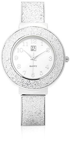 New York & Co. Women's Metallic Glitter Watch 0 Silver. Metallic Glitter Watch Goto glam A glitter finish makes our chic timepiece a striking finishing touch. Stretch watch.; Glittery strap.; Glitter around face. Numbers all around face.; Mixed metal.; Quartz movement. Imported.