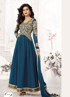 426450 Blue color family Anarkali Suits in Faux Georgette fabric with Lace,Machine Embroidery,Patch,Zari work . Cotton Salwar Kameez, Designer Salwar Suits, Designer Anarkali, Georgette Fabric, Looks Chic, Maroon Color, Anarkali Suits, Patch, Party Wear