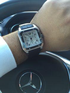Cartier Santos 100 XL Cartier Santos 100 Xl, Older Mens Fashion, Black Rolex, Gentleman Watch, Fashion Moda, Luxury Watches For Men, High Jewelry, Vintage Watches, Cool Watches