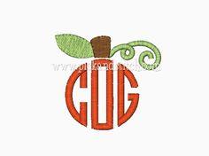 FREE Monogram Pumpkin Topper Mini Embroidery Design - Pick & Stitch