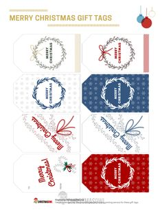 """Free printable gift tags with a """"Merry Christmas"""" message. Download them here: https://christmasowl.com/download/gift-tags/merry-christmas/"""