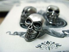 Skull Metal Buttons , Retro Silver Color , Shank , 0.59 inch , 10 pcs by Lyanwood, $6.00