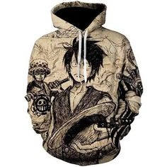 Long Sleeves Sport Tops with Kangaroo Pockets Anime One-Piece Monkey-D-Luffy Art Pullover Hoodie Hooded Sweatshirt Children Hoodies for Cycling Training Date