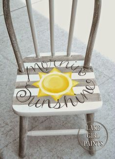 "Painted striped chair ""mornin sunshine"""