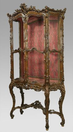 Fine and Palatial French 19th Century Louis XV Style Giltwood Ornately Carved Two-Door Vitrine