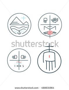 Hand drawn vector illustration or drawing of different religious abstract contemporary symbols