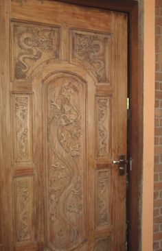 Dragon Themed Item-Carved Wooden Door & wood windows   ... Frame with Double Door Gracefull Handworked ...