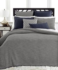 Home Must-Haves for Fall: Netflix. A good book. All of these hibernation-time essentials are so much better when you're enjoying them snuggled up in comfy sheets — Hotel Collection linen quilted coverlet Navy Comforter, Coverlet Bedding, Black Bedding, Comforter Sets, King Comforter, Linen Bedding, Duvet, Comforters, Bedding Sets Online