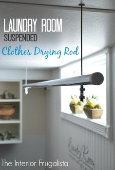 Laundry Room Suspended Clothes Drying Rod Tutorial for the Ultimate Organization and Cleaning Blog Hop