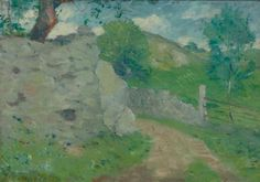 """A French Country Lane,"" Julian Alden Weir, 1897, oil on board, 11.4 x 16"", private collection."