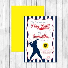 Softball Theme Party Personalized Birthday Invitation or Evite - Girl's Baseball Invitation, Double Sided