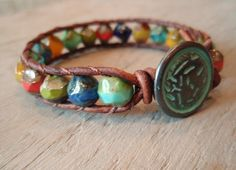 Colorful beaded leather wrap bracelet -love the button