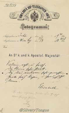 Telegram written by Empress Elisabeth (September 25th, 1896) on occasion of the birth of her grandchild, Archduchess Hedwig, daughter of Archduchess Marie Valerie.