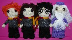 Ron, Hermione, Harry and Dumbledore amigurumis