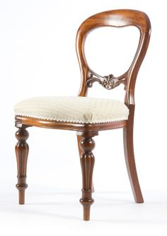 Dutch Plain Dining Chair. A timeless balloon backed dining chair with floral carvings on the middle rail, flute legs and late Regency turnings. Available painted or polished in any colour and upholstered in any fabric.