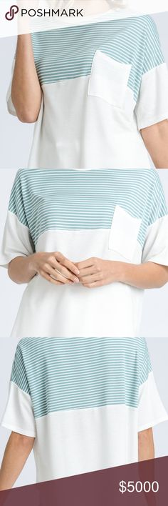 ❗️COMING SOON❗️ Color Blocked Short Sleeve Top LIKE THIS LISTING TO BE UPDATED WHEN IT ARRIVES!  WHOEVER LIKES THIS LISTING FOR WHEN IT ARRIVES WILL RECEIVE FREE SHIPPING AND SPECIAL A DISCOUNT.  •A short-sleeve top featuring color-blocked detail. Pocket patched at front bust. Non-sheer. Knit. Lightweight. •Measurements: TBD •Fabric: 59%Rayon, 38%Polyester •Made in USA •Seafoam Color Voeux Tops Tees - Short Sleeve