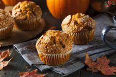 These healthy and grain free pumpkin bread muffins. REID approved, if u choose cinnamon and honey options :) thanks Renee Knight (healthy pumpkin muffins coconut oil) Pumpkin Muffin Recipes, Pumpkin Spice Muffins, Cinnamon Muffins, Apple Cinnamon, Pumpkin Butter, Pumpkin Bread, Paleo Dessert, Coconut Recipes, Real Food Recipes