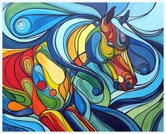 'Colours of the Wind' colourful abstract horse running in a stained glass style, painted in acrylic paint and drawn over with permanent marker by UK artist Amber Rose O'Sullivan - www.amberroseosullivan.co.uk
