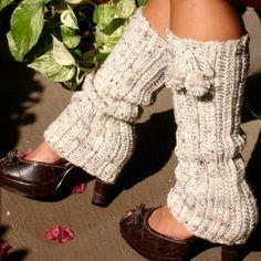 Crocheted Legwarmers in Oatmeal by Mademoiselle...