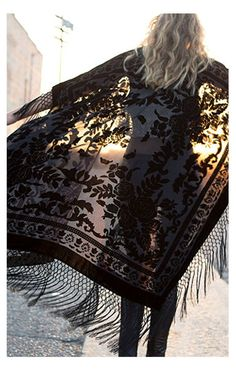 Black velvet burnout with super long fringe - Classically gorgeous, bewitching; a wardrobe staple.