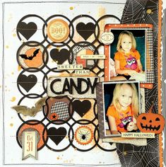 #papercrafting #scrapbook #layout - Halloween inspired scrapbook layout - Little Nugget Creations
