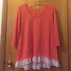 "High Low Sweater Bright Salmon Pink sweater with lace at the bottom, by Arizona Jean Co.  Width armpit to armpit: 21"" Length shoulder to bottom in back: 30"" (this sweater is high low, front is a bit shorter)  Condition: WORN ONE TIME, brand new condition  Arizona Jean Company Sweaters"