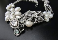 Small Statement  Flower Necklace  Bridal Bib  with by BridalSalon, $400.00