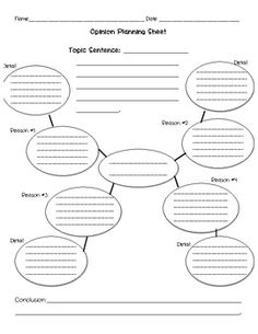 Students can choose either one of these planning sheets to guide them while writing an opinion paper. %0A%0AWhat's included:%0A%0A~ A blank web with space for a topic sentence, conclusion, and 4 details and reasons %0A~ A fill-in-the-blank planning sheet for character opinions%0A%0A*The web focuses on letting the students put the main idea in the center and allows for 4 details with 4 reasons to go along with it.