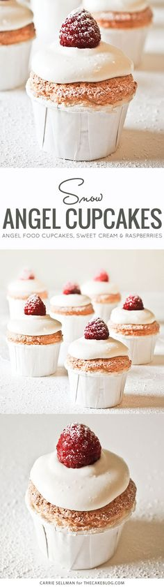 Angel food cupcakes topped with sweetened whipped cream and fresh raspberries | by Carrie Sellman for TheCakeBlog.com