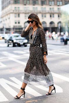 Floral quarter length sleeve dress + black ankle strap sandals + braided belt