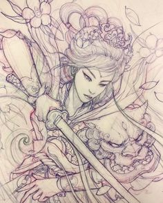 Upcoming geisha warrior. #sketch #illustration #drawing #irezumi #tattoo #asiantattoo #asianink #chronicink #irezumicollective