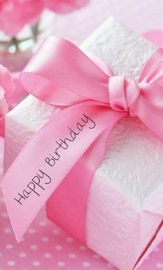 Happy birthday pink ribbon present