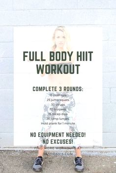 HIIT workout that can be completed at home with no equipment! HIIT workout that can be completed at home with no equipment! Pilates Workout Routine, Fitness Workouts, Full Body Hiit Workout, Hitt Workout, Hiit Workout At Home, Home Exercise Routines, Yoga Routine, At Home Workouts, Fitness Tips