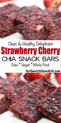Dehydrator Strawberry Cherry Chia Snack Bars: easy snack recipe for raw healthy fruit snack! Healthy Fruit Snacks, Healthy Snack Bars, Healthy Munchies, Healthy Sweet Treats, Healthy Sugar, Healthy Dessert Recipes, Easy Snacks, Raw Food Recipes, Snack Recipes