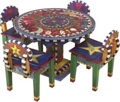 Hand Painted and Crafted Children's Table and Chairs Set From Sticks, Inc..