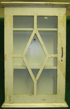 Vintage Wood Curio Cabinet Shabby Chic Medicine Cupboard 1097 12