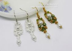 These Heavenly Pearl Dangle Earrings are simply stunning DIY earrings! How To Make Earrings, Beaded Earrings, Pearl Earrings, Earring Tutorial, Necklace Tutorial, Beaded Jewelry Patterns, Bead Patterns, Anniversary Jewelry, Diamond Drop Earrings