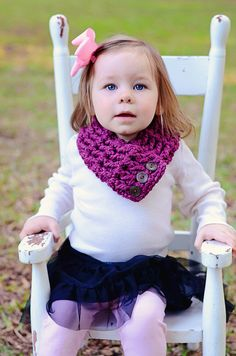 Toddler Scarf, 1T to 4T Toddler Girl, Kids Scarf, Scarflette, Cowl, Neckwarmer - Purple Plum, Chocolate Brown Buttons Warm Crochet Scarf on Etsy, $31.00