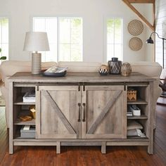 """Better Homes and Gardens Modern Farmhouse TV Stand for TVs up to 60"""", Rustic Gray Finish Image 5 of 8"""