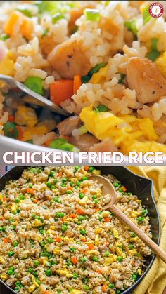 Chicken Fried Rice is one of our go-to EASY meals. Fried Rice is perfect for meal prep and a genius way to use leftovers. It's actually even better with leftover rice. Food Recipes For Dinner, Food Recipes Homemade Asian Recipes, Mexican Food Recipes, Easy Chinese Food Recipes, Homemade Chinese Food, Authentic Chinese Recipes, Greek Recipes, Healthy Dinner Recipes, Cooking Recipes, Easy Cooking