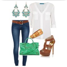 Mint and Tan  Dressy Jeans & white shirt