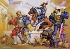 neoprusiano:  @Neoprusiano Lansquenetes en el Saco de Roma, 1527.Landsknechts in the Sack of Rome, 1527. Angus McBride (1931-2007), 1988.