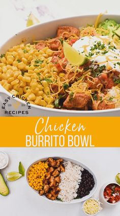 Make a copycat Chipotle chicken burrito bowl at home! Nutritious, delicious and filling, this is an easy healthy 30 minute recipe. Everyone can choose their favorite toppings! Mexican Food Recipes, Dinner Recipes, Mexican Bowl Recipe, Healthy Mexican Food, Mexican Rice Bowls, Dinner Ideas, Healthy Rice, Healthy Cooking, Cooking Recipes