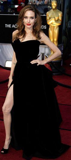 Angelina Jolie s black velvet Versace dress 2012 Oscars